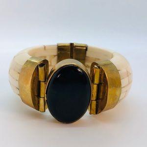 Jewelry - Onyx Stone Brass Hinged Bangle Bracelet